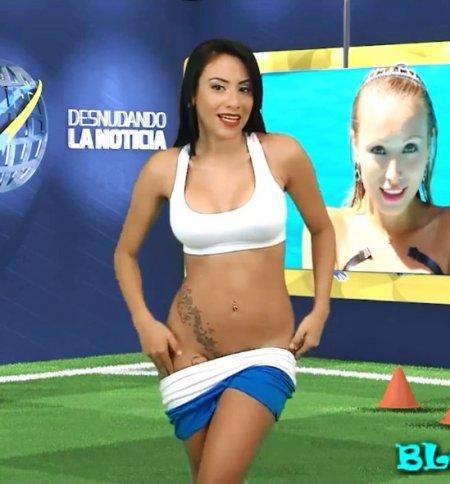 Ведущая Юви Пальярес разделась в прямом эфире (HD ВИДЕО)